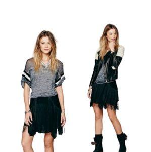 Free People Black Fringe Mini Skirt